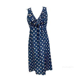 Jigsaw Silk Blue & Cream Ruffle Front Dress6EUC